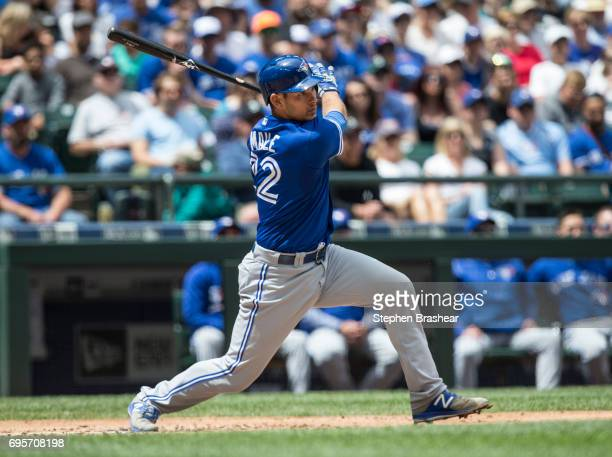 Luke Maile of the Toronto Blue Jays takes a swing during a game Mariners at Safeco Field on June 11 2017 in Seattle Washington The Blue Jays won 40
