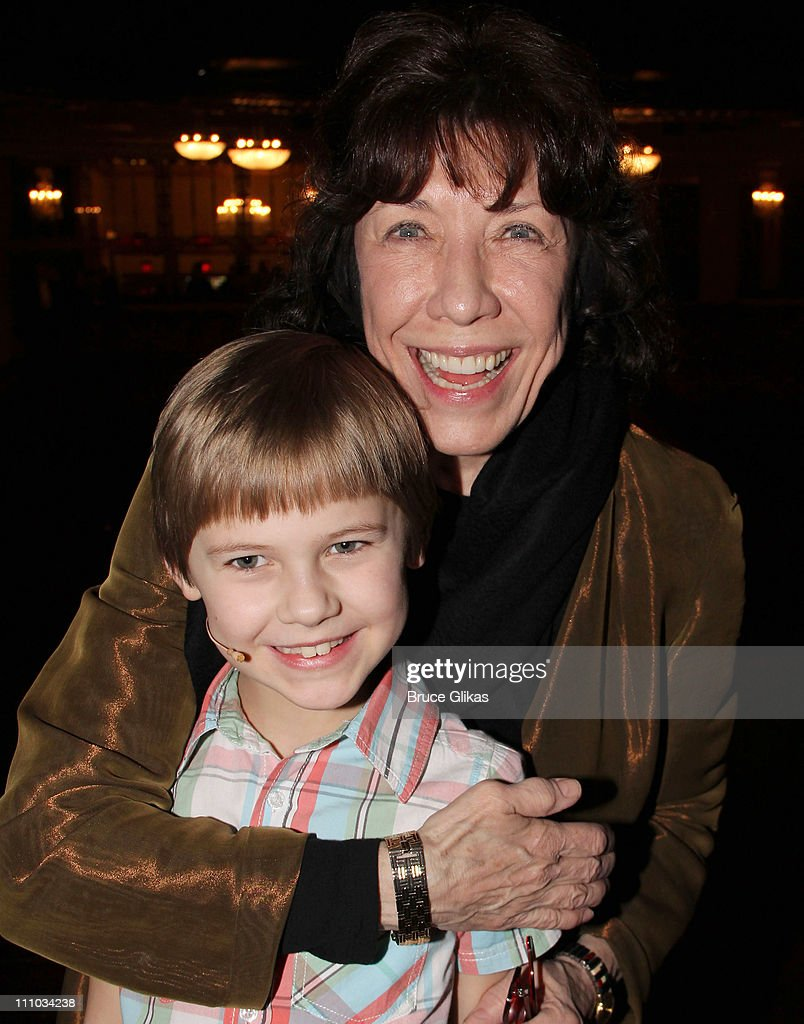 Luke Mannikus and Lily Tomlin pose backstage at the hit musical 'Priscilla Queen of The Desert' on Broadway at The Palace Theater on March 28 2011 in...