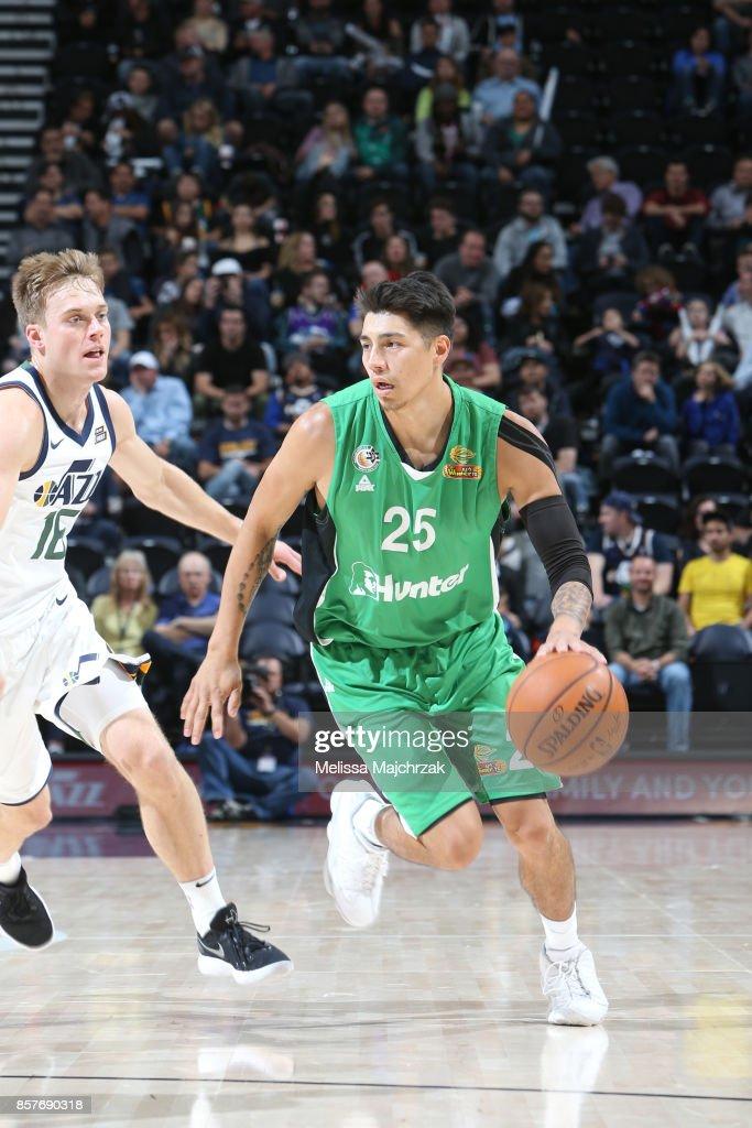 Luke Martinez #25 of the Maccabi Haifa shoots the ball against the Utah Jazz during a preseason game on October 4, 2017 at vivint.SmartHome Arena in Salt Lake City, Utah.