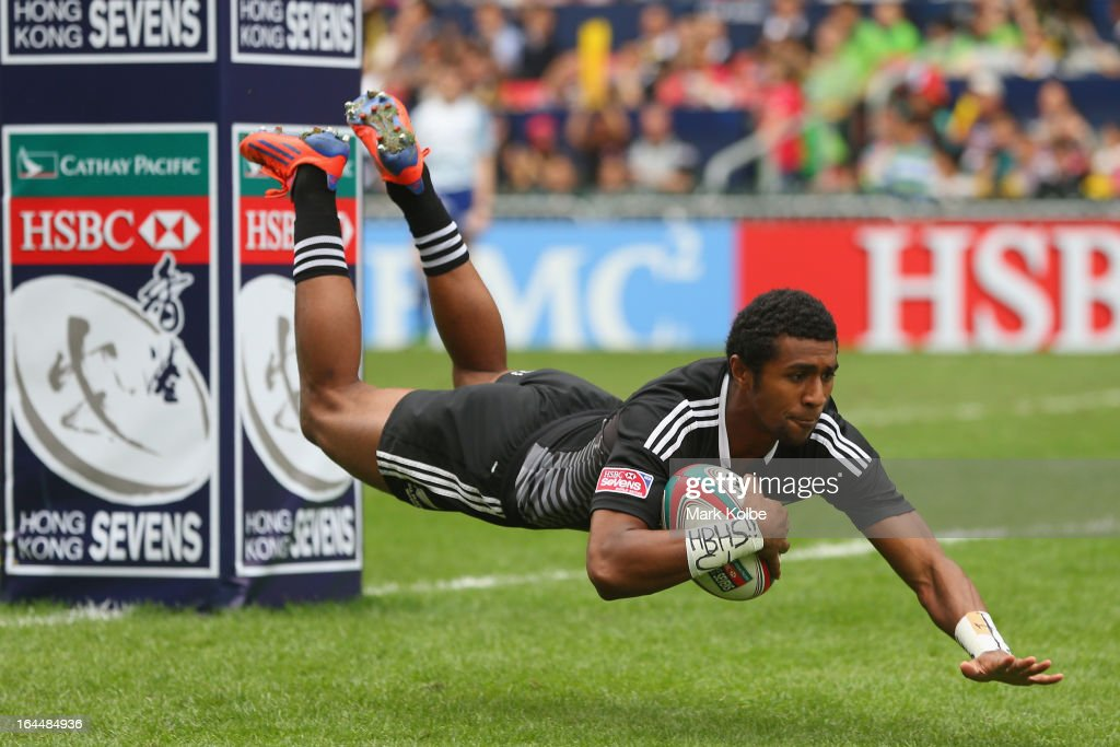 Luke Masirewa of New Zealand dives over to score as try during the cup quarter final match between New Zealand and Samoa day three of the 2013 Hong Kong Sevens at Hong Kong Stadium on March 24, 2013 in So Kon Po, Hong Kong.