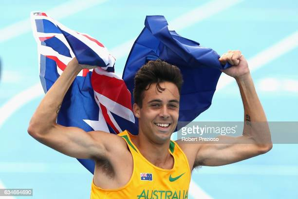 Luke Mathews of Australia celebrates after competing in mixed 2000 sprint medley during the Melbourne Nitro Athletics Series at Lakeside Stadium on...