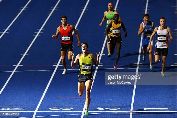 Luke Mathews of Victoria celebrates winning the mens 800m during the Australian Athletics Championships at Sydney Olympic Park on April 2 2016 in...