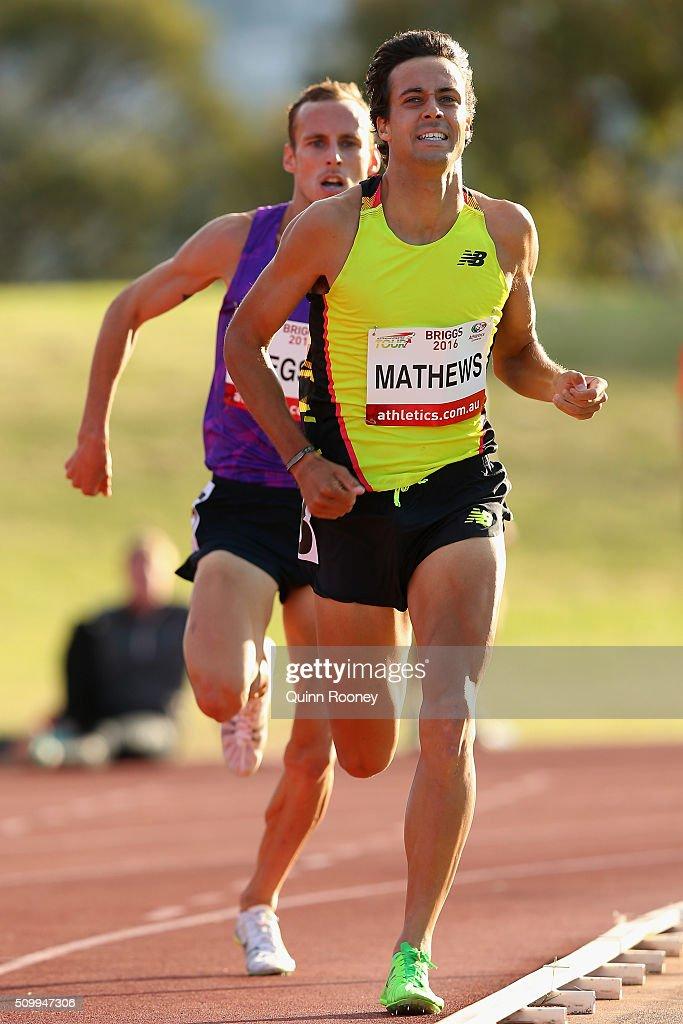 Luke Mathews of Victoria leads Ryan Gregson of Victoriain the Men's 5000 Meter Run during the Briggs Athletics Classic on February 13, 2016 in Hobart, Australia.