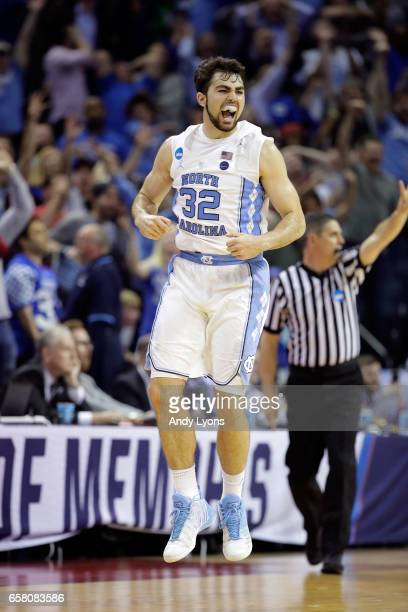 Luke Maye of the North Carolina Tar Heels reacts after a basket late in teh second half against the Kentucky Wildcats during the 2017 NCAA Men's...
