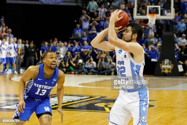 Luke Maye of the North Carolina Tar Heels shoots the game winning basket late in the second half against the Kentucky Wildcats during the 2017 NCAA...