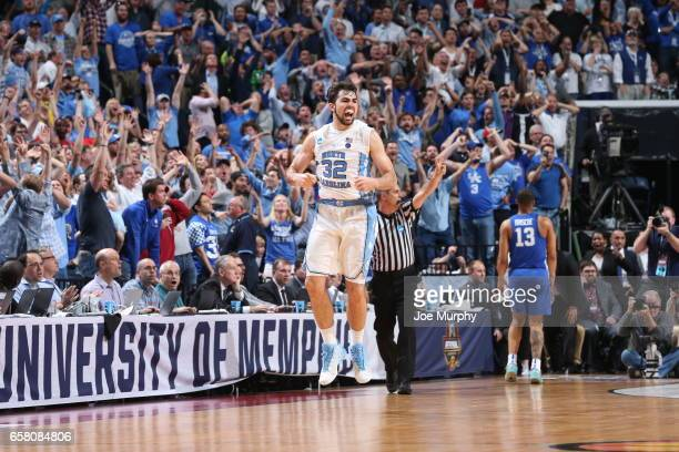 Luke Maye of the University of North Carolina Tar Heels celebrates after he hits a game winning basket against the University of Kentucky Wildcats...