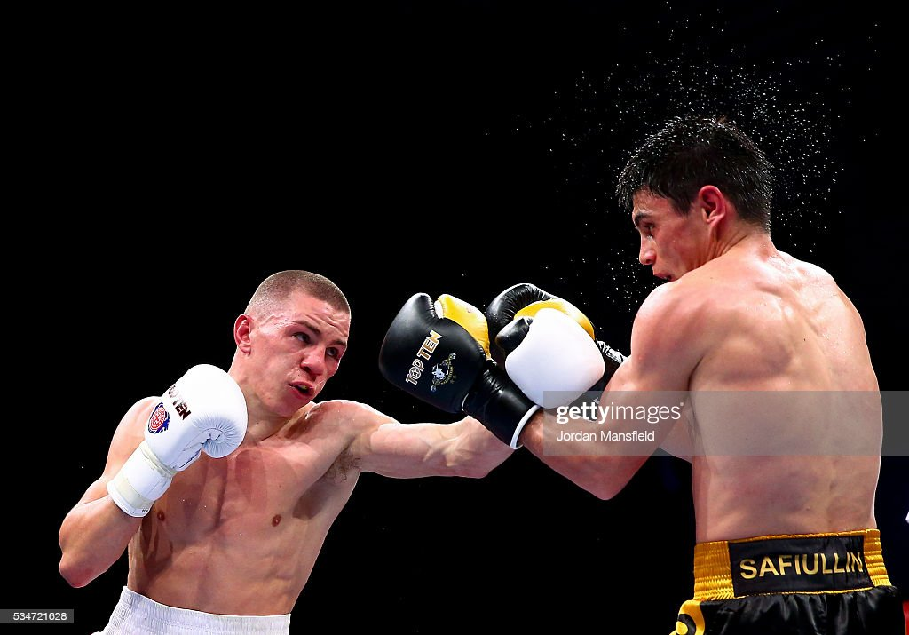 Luke McCormack of British Lionhearts (L) in action against Zakir Safiullin of Astana Arlans (R) in the semi-final of the World Series of Boxing between the British Lionhearts and Kazakhstan at York Hall on May 27, 2016 in London, England.
