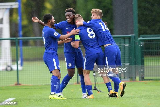 Luke McCormick of Chelsea U19's celebrates his 3rd goal with Cole Dasilva Callum Hudson Odoi and Charlie Brown during the UEFA Youth Champions League...