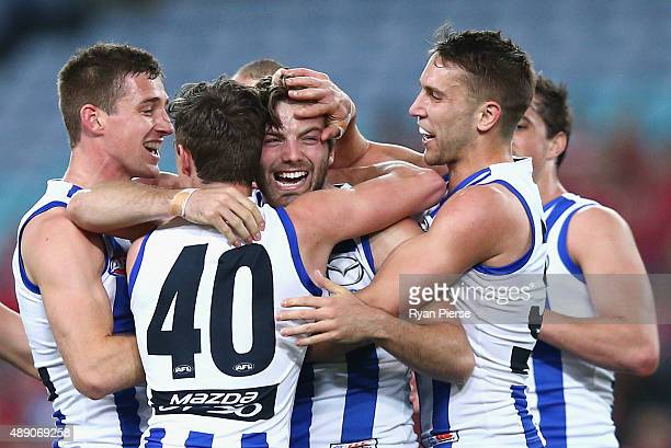 Luke McDonald of the Kangaroos celebrates a goal during the First AFL Semi Final match between the Sydney Swans and the North Melbourne Kangaroos at...