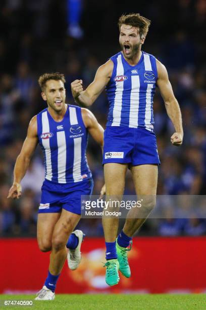 Luke McDonald of the Kangaroos next to Jamie Macmillan during the round six AFL match between the North Melbourne Kangaroos and the Gold Coast Suns...