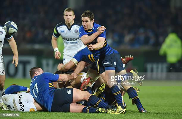 Luke McGrath of Leinster throws a pass during the European Champions cup Pool 5 rugby game with Bath at the RDS arena on January 16 2016 in Dublin...