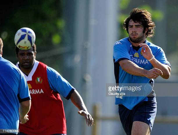 Luke Mclean of Italy during an Italy Rugby Union training Session on May 17 2011 in Parma Italy