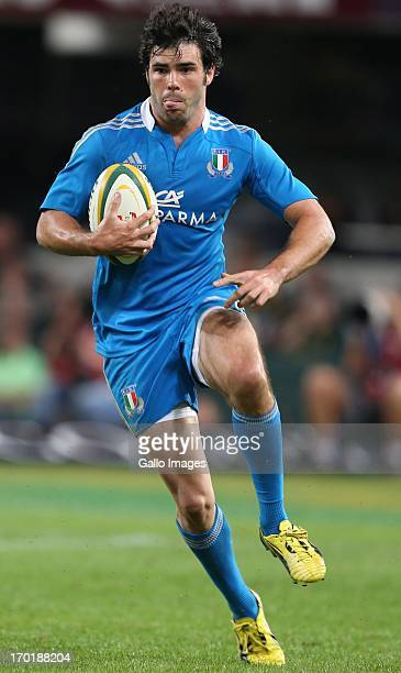 Luke Mclean of Italy runs with the ball during the Castle Incoming Tour match between South Africa and Italy at Growthpoint Kings Park on June 08...