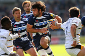 Luke McLean of Sale Sharks runs at the Wasps defence during the Aviva Premiership match between Sale Sharks and Wasps at AJ Bell Stadium on October 5...