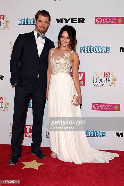 Luke Mitchell and Rebecca Breeds arrive at the 2014 Logie Awards at Crown Palladium on April 27 2014 in Melbourne Australia