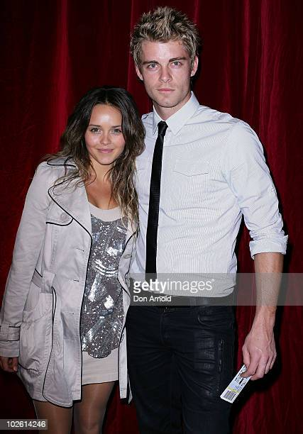 Luke Mitchell and Rebecca Breeds arrive for the opening night of West Side Story at Star City on July 4 2010 in Sydney Australia