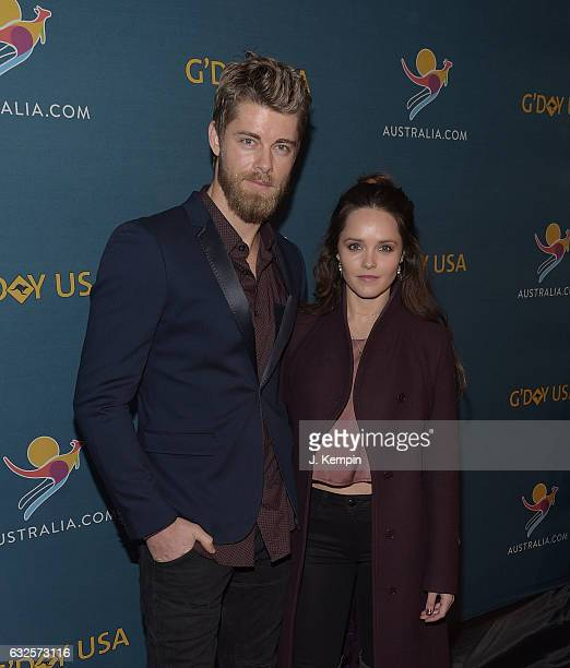 Luke Mitchell and Rebecca Breeds attend A Virtual Tour of Australia at Hudson Mercantile on January 23 2017 in New York City