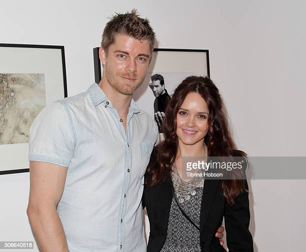 Luke Mitchell and Rebecca Breeds attend Billy Zane's opening night reception for his debut photo exhibit at Leica Gallery Los Angeles on January 23...