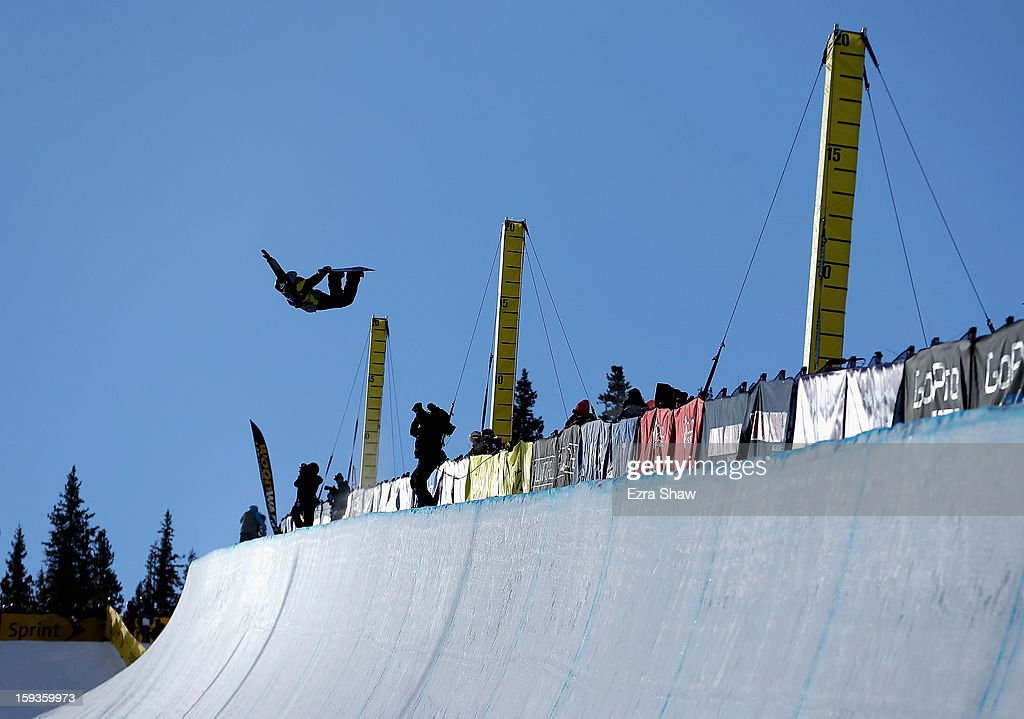Luke Mitrani competes in the FIS Snowboard World Cup Half Pipe men's finals at the US Grand Prix on January 12, 2013 in Copper Mountain, Colorado.