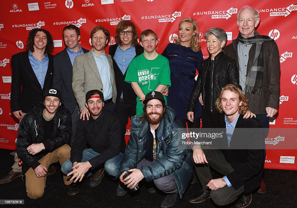 Luke Mitrani, Kevin Pearce (fourth from left), brother David Pearce (fourth from right), director Lucy Walker (third from right) and (L-R bottom row) Jack Mitrani, Scotty Lago, Danny Davis and Mikkel Bang attend 'The Crash Reel' premiere at The Marc Theatre during the 2013 Sundance Film Festival on January 19, 2013 in Park City, Utah.