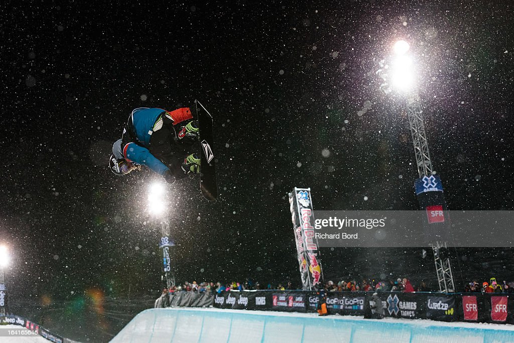 Luke Mitrani of the USA performs as he qualifies fifth during the Men's Snowboard Superpipe elimination during day three of Winter X Games Europe 2013 on March 20, 2013 in Tignes, France.