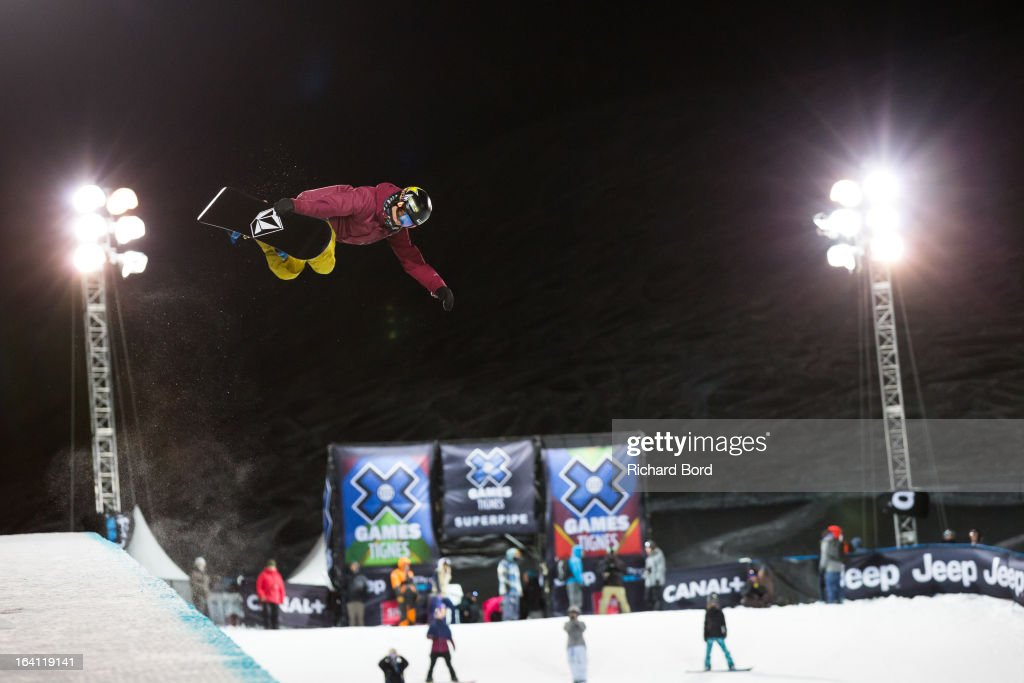 Luke Mitrani of the USA practices during the Superpipe training sessions during day two of Winter X Games Europe 2013 on March 19, 2013 in Tignes, France.
