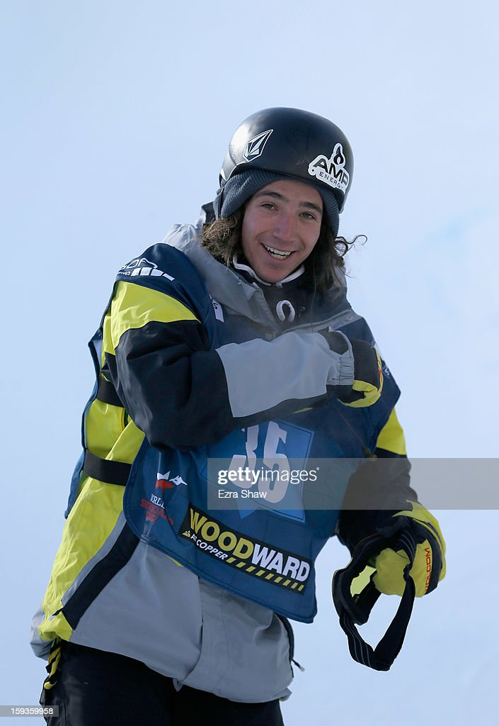 Luke Mitrani stands at the finish line after competing in the FIS Snowboard World Cup Half Pipe men's finals at the US Grand Prix on January 12, 2013 in Copper Mountain, Colorado.