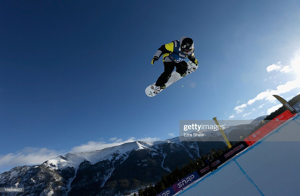 Luke Mitrani warms up before the start of the FIS Snowboard World Cup Half Pipe finals at the US Grand Prix on January 12, 2013 in Copper Mountain, Colorado. Mitrani finished the event in second place.