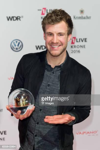 Luke Mockridge celebrate his award during the 1Live Krone at Jahrhunderthalle on December 1 2016 in Bochum Germany