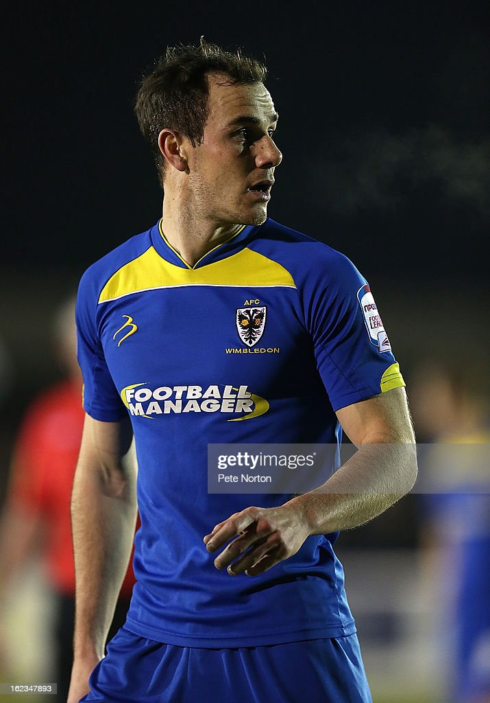 Luke Moore of AFC Wimbledon in action during the npower League Two match between AFC Wimbledon and Northampton Town at The Cherry Red Records Stadium on February 19, 2013 in Kingston upon Thames, England.