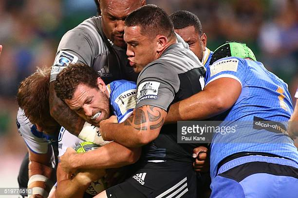 Luke Morahan of the Force gets tackled during the round seven Super Rugby match between the Force and the Crusaders at nib Stadium on April 8 2016 in...
