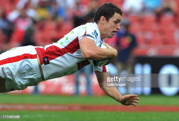 Luke Morahan of the Reds dives over for his try during the Vodacom Super Rugby match between MTN Lions and Queensland Reds at Johannesburg Stadium on...