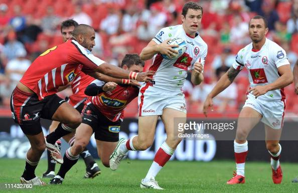 Luke Morahan of the Reds runs in for his try during the Vodacom Super Rugby match between MTN Lions and Queensland Reds at Johannesburg Stadium on...