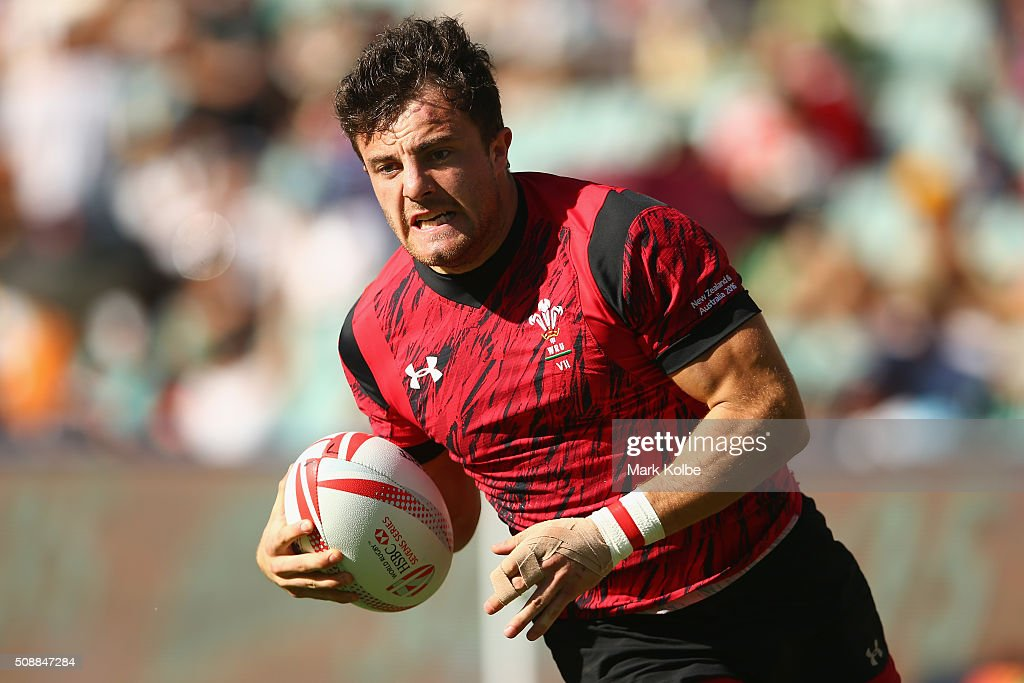 Luke Morgan of Wales breaks away to score a try during the 2016 Sydney Sevens shield final match between Wales and Russia at Allianz Stadium on February 7, 2016 in Sydney, Australia.