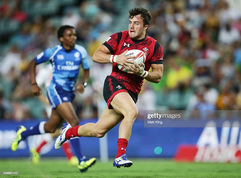 Luke Morgan of Wales makes a break during the 2016 Sydney Sevens match between Japan and Wales at Allianz Stadium on February 6, 2016 in Sydney, Australia.