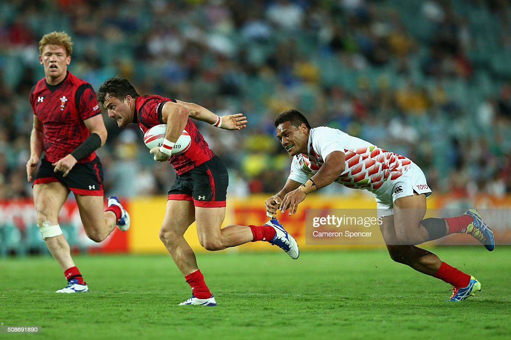 Luke Morgan of Wales runs the ball during the 2016 Sydney Sevens match between Japan and Wales at Allianz Stadium on February 6, 2016 in Sydney, Australia.