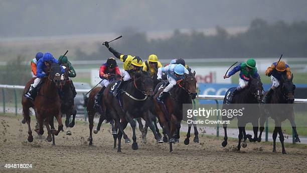Luke Morris rides Lamar to win The 32Red/ ebfstallionscom Fleur De Lys Fillies Sakes at Lingfield Park on October 29 2015 in Lingfield England