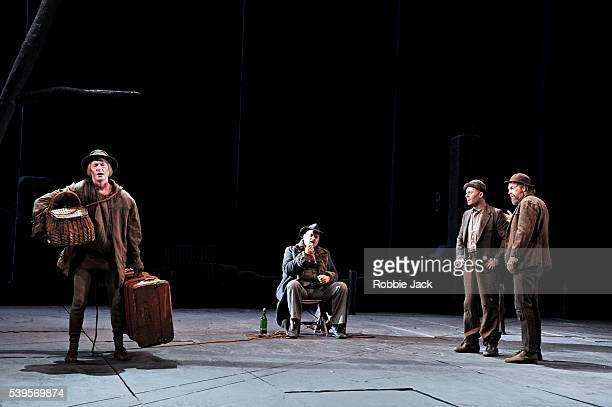 Luke Mullins as Lucky Phillip Quast as Pozzo Richard Roxburgh as Estragon and Hugo Weaving as Vladimir and in Sydney Theatre Company's production of...