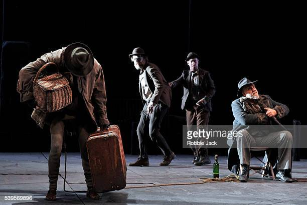 Luke Mullins as Lucky Richard Roxburgh as Estragon Hugo Weaving as Vladimir and Phillip Quast as Pozzo in Sydney Theatre Company's production of...