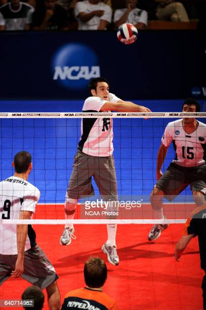 Luke Murray of Penn State University hits a bump against Pepperdine University during the Division I Mens Volleyball Finals held at the Bren Events...