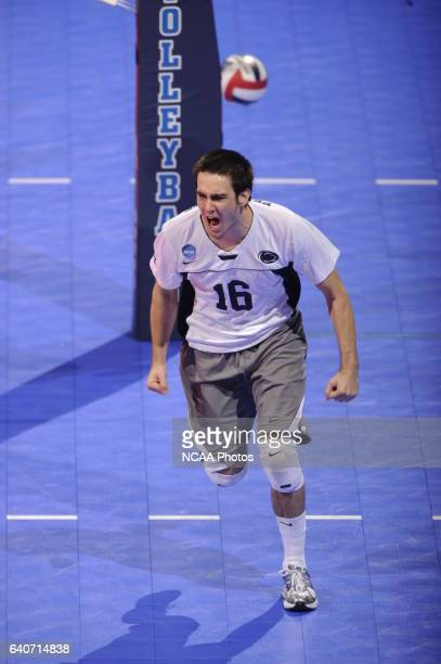 Luke Murray of Penn State University reacts to a block against Pepperdine University during the Division I Men's Volleyball Championship held at the...