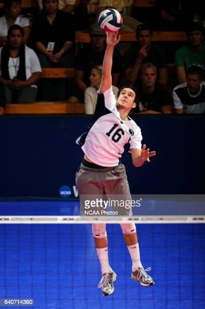 Luke Murray of Penn State University serves against Pepperdine University during the Division I Mens Volleyball Finals held at the Bren Events Center...