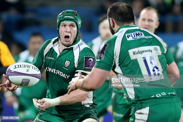 Luke Narraway for London Irish in action during the European Rugby Challenge Cup match between Agen and London Irish at stade Armandie on January 23...