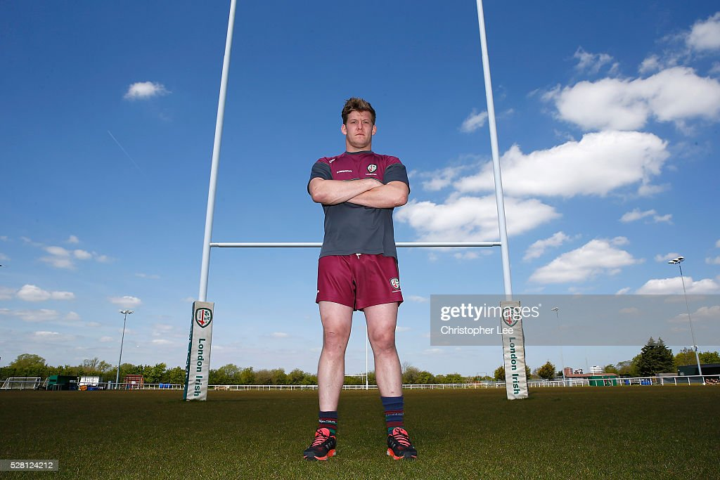 <a gi-track='captionPersonalityLinkClicked' href=/galleries/search?phrase=Luke+Narraway&family=editorial&specificpeople=564173 ng-click='$event.stopPropagation()'>Luke Narraway</a> of London Irish poses for the camera during the London Irish Media Session at Hazelwood Centre on May 4, 2016 in Sunbury, England.