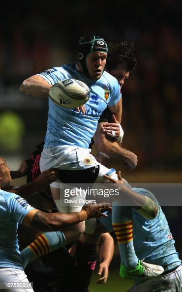 Luke Narraway of Perpigan catches the ball during the Amlin Challenge Cup Semi Final between Perpignan and Stade Francais at Stade Aime Giral on...