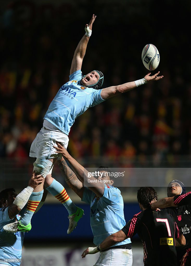 Luke Narraway of Perpigan wins the lineout ball during the Amlin Challenge Cup Semi Final between Perpignan and Stade Francais at Stade Aime Giral on...