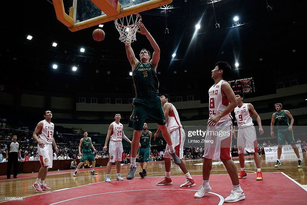 <a gi-track='captionPersonalityLinkClicked' href=/galleries/search?phrase=Luke+Nevill&family=editorial&specificpeople=835195 ng-click='$event.stopPropagation()'>Luke Nevill</a> #15 of the Boomers dunks the ball during game three of the series between the Australian Boomers and China at Tianjin Sports Center on June 12, 2013 in Tianjin, China.