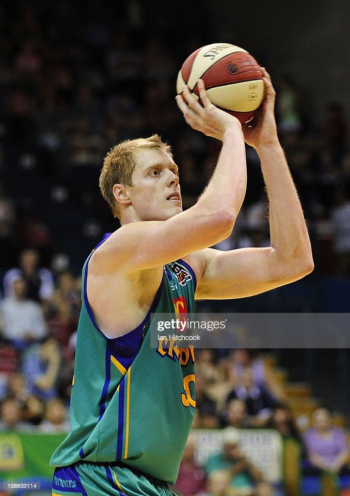 Luke Nevill of the Crocodiles shoots a free throw atempt during the round 12 NBL match between the Townsville Crocodiles and the Adelaide 36ers at Townsville Entertainment Centre on December 31, 2012 in Townsville, Australia.
