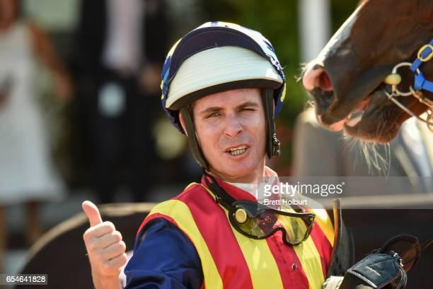 Luke Nolen after winning the VRC Thanks Greg Miles Trophy at Flemington Racecourse on March 18 2017 in Flemington Australia