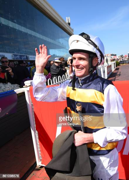 Luke Nolen reacts after winning aboard Aloisia in Race 6 Schweppes Thousand Guineas during Melbourne Racing on Caulfield Guineas Day at Caulfield...